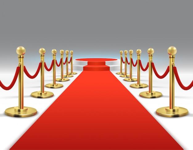 Eleganter roter teppich mit rundem podium. promi-lifestyle, prestige und glamour