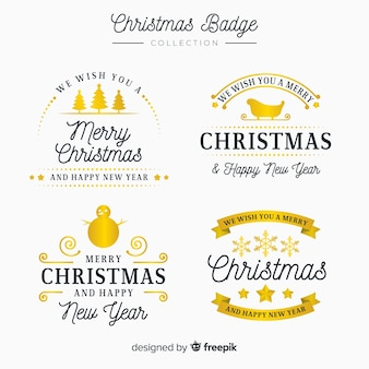 Eleganter satz goldene weihnachtsaufkleber