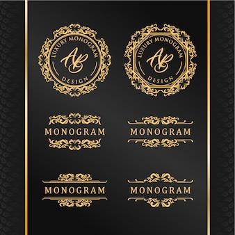 Eleganter satz goldverzierungsdesigne mit luxuriösem schwarzem hintergrund