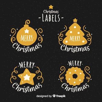 Eleganter satz hand gezeichnete weihnachtsaufkleber