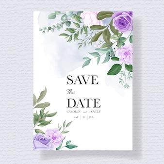 Eleganter satz hochzeitseinladungskarten mit schönen lila blumen