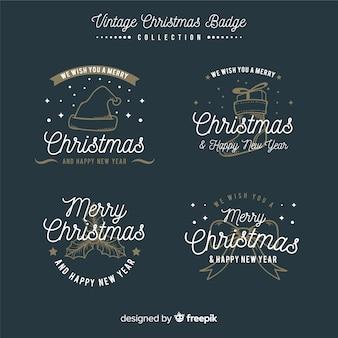 Eleganter satz weihnachtsaufkleber mit weinleseart