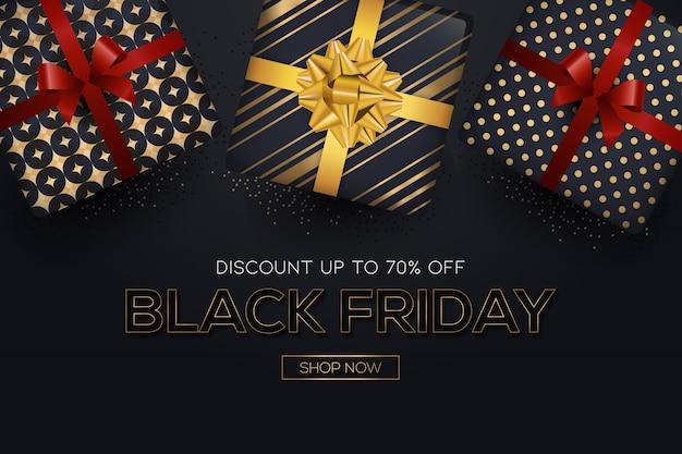Eleganter schwarzer freitagverkaufshintergrund mit einem realistischen geschenk s