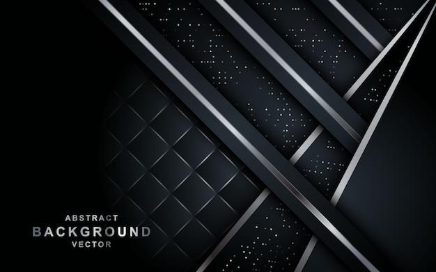 Eleganter schwarzer hintergrund mit überlappungsschicht.