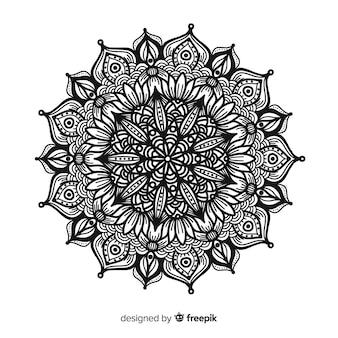 Eleganter schwarzweiss-mandalakonzepthintergrund