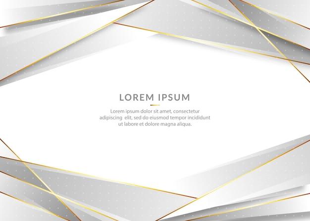Eleganter silberner hintergrund mit den goldenen elementen der linie