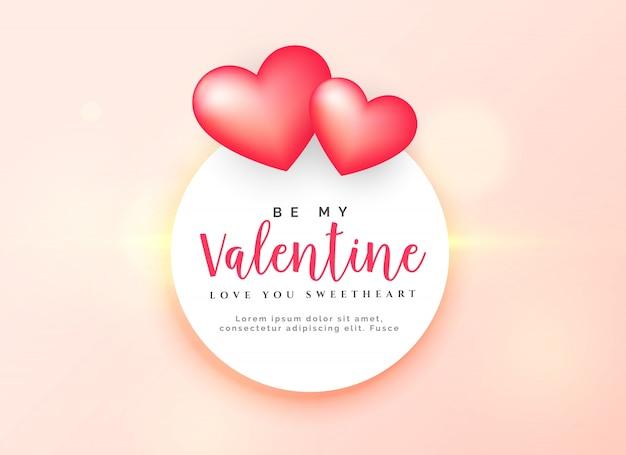 Eleganter valentinstagentwurf mit zwei rosa herzen