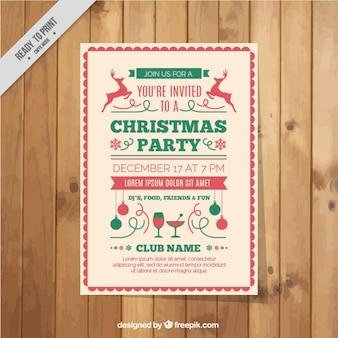 Eleganter weihnachts-party-flyer im vintage-stil