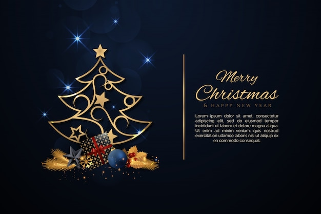Eleganter weihnachtsbaum mit goldenen weihnachtselementen