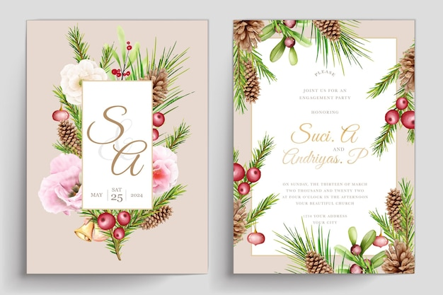 Eleganter weihnachtsblumen- und blätterhintergrund