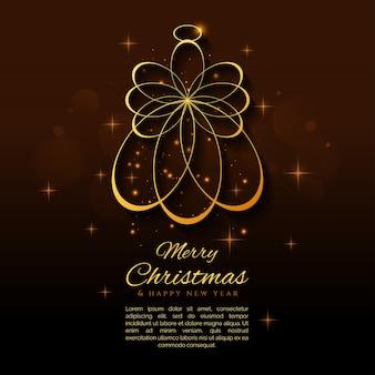 Eleganter Weihnachtshintergrund mit einem Goldengelvektor