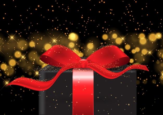 Eleganter weihnachtshintergrund mit geschenk auf bokeh beleuchtet design