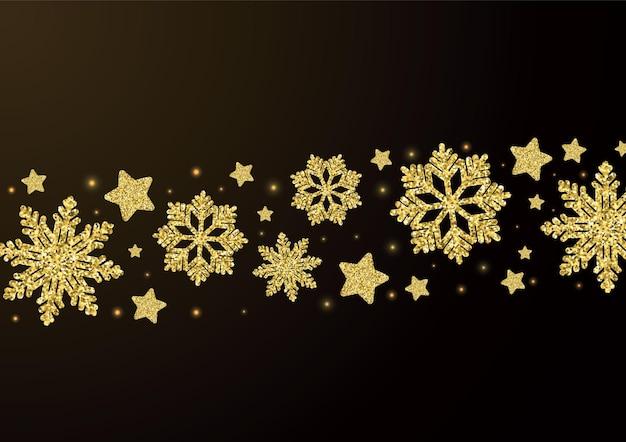 Eleganter weihnachtshintergrund mit glänzenden goldenen schneeflocken und sternvektorillustration