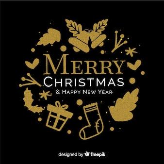 Eleganter Weihnachtshintergrund mit goldenen Elementen