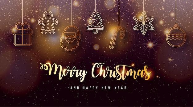Eleganter weihnachtshintergrund mit goldenen weihnachtselementen