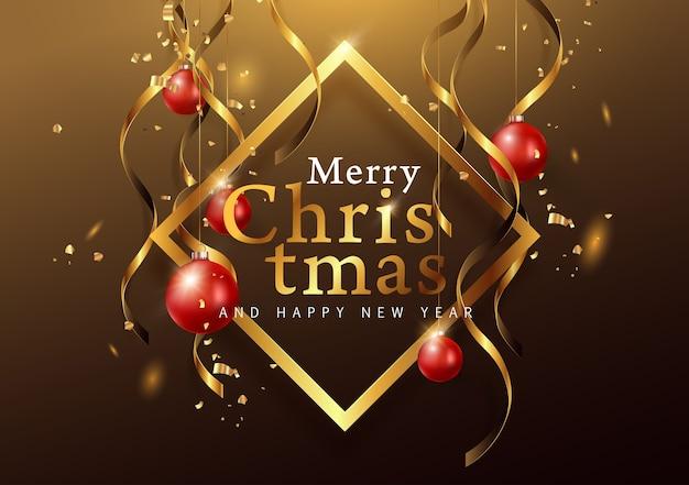 Eleganter weihnachtshintergrund mit hängendem ornament.