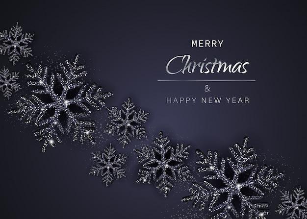 Eleganter weihnachtshintergrund mit leuchtend schwarzen schneeflocken. illustration