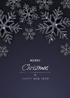 Eleganter weihnachtshintergrund mit leuchtend schwarzen schneeflocken. vertikale ansicht