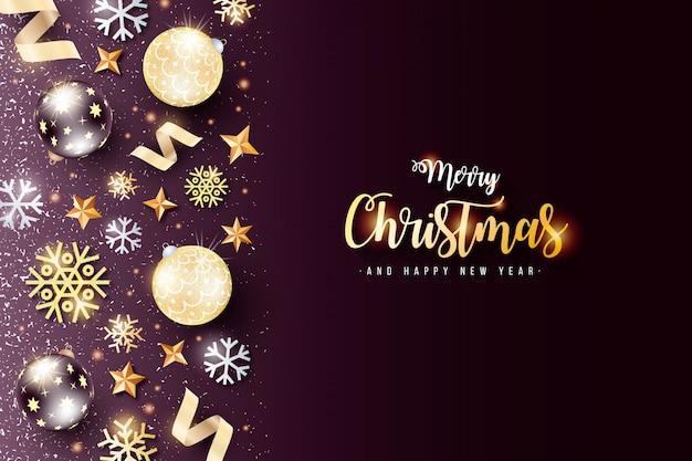 Eleganter weihnachtshintergrund mit schwarzer und goldener dekoration