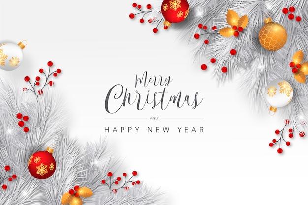 Eleganter weihnachtshintergrund mit weißen niederlassungen