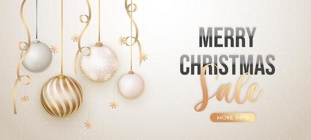 Eleganter weihnachtsverkaufshintergrund mit realistischer dekoration