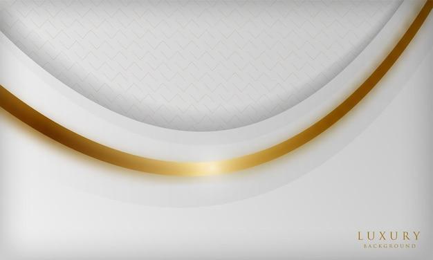 Eleganter weißer luxushintergrund der kurve mit goldenen linienelementen und unschärfeeffekt
