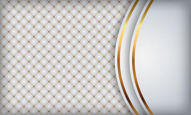 Eleganter weißer luxushintergrund. weißes leder mit goldenen metalldetails.