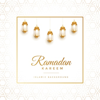 Eleganter weißer und goldener ramadan-kareem-hintergrund