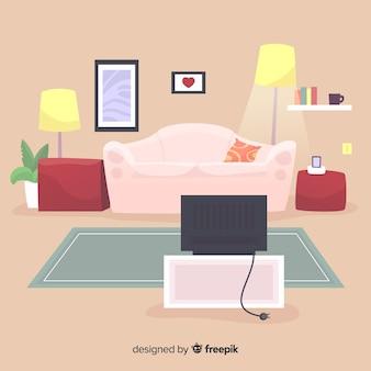 Eleganter wohnzimmerinnenraum mit flacher auslegung