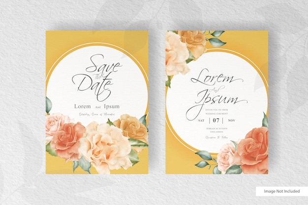 Elegantes aquarell-hochzeits-einladungs-briefpapier mit schöner blumen- und blattanordnung