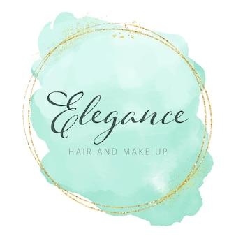 Elegantes aquarell-logo-design mit goldenen glitzerelementen