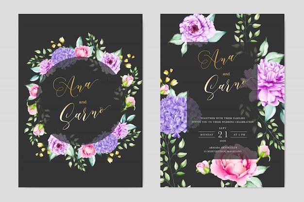 Elegantes aquarell mit blumen- und blatthochzeitskartentermplate