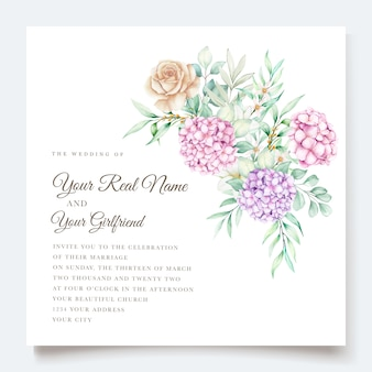 Elegantes aquarellhortensienblumenhochzeitseinladungskartenset