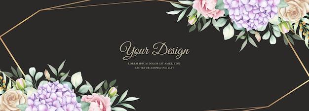 Elegantes banner mit aquarellhortensienblumen Kostenlosen Vektoren