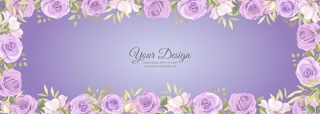 Elegantes banner mit rosenblüte und grüner blattdekoration