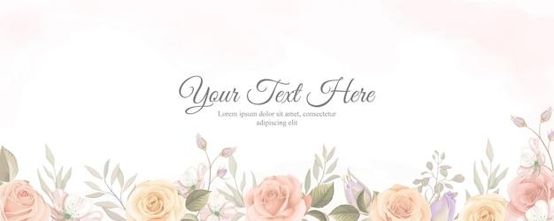 Elegantes banner mit weicher farbe von blühender rosenblütenverzierung