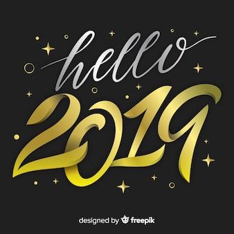 Elegantes beschriftungshintergrund des neuen jahres 2019