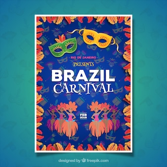 Elegantes blaues brasilianisches karnevalsplakatdesign