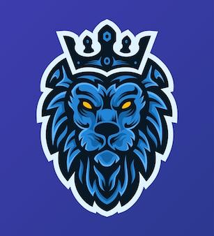 Elegantes blaues könig der löwen könig maskottchen esport logo
