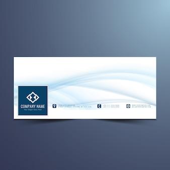 Elegantes blaues wellenförmiges facebook timelineentwurf
