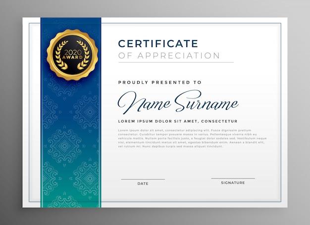 Elegantes blaues zertifikat der anerkennungsschablonen-vektorillustration
