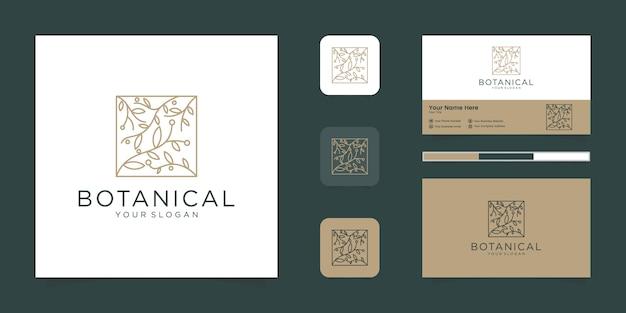 Elegantes blumenlogo des botanischen gartens für schönheit, kosmetik, yoga und spa. logo-design und visitenkarte