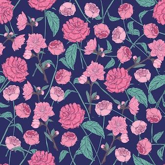 Elegantes blumenmuster mit schönen rosen auf dunklem hintergrund.
