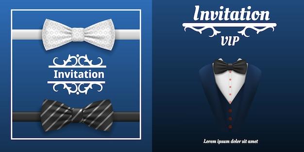 Elegantes bowtie-fahnenset. realistische illustration der eleganten bowtie vektorfahne stellte für webdesign ein