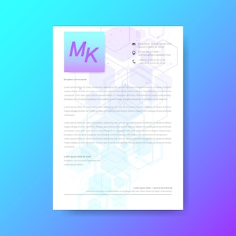 Elegantes briefkopf-vorlagendesign im minimalistischen stil. abstrakter hintergrund sechseckige molekulare strukturen im technologiehintergrund und im wissenschaftsstil. medizinisches design