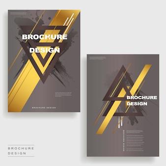 Elegantes broschüren-vorlagendesign mit dreiecken und goldenen elementen