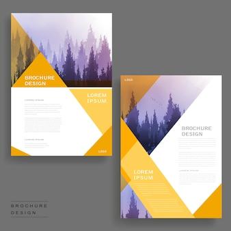 Elegantes broschüren-vorlagendesign mit nebligen wäldern und geometrischen elementen