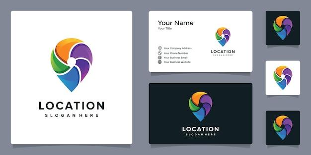 Elegantes buntes pin-logo mit visitenkartenvorlage