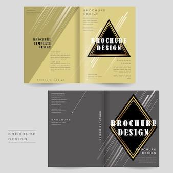 Elegantes design mit zweifach gefalteter broschürenvorlage mit dreiecks- und rautenelementen