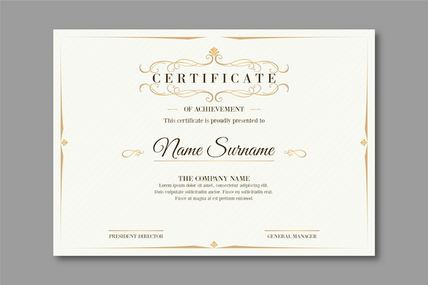 Elegantes design zertifikatvorlage
